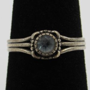 Vintage Size 5.75 Sterling Rustic Blue Topaz Ring